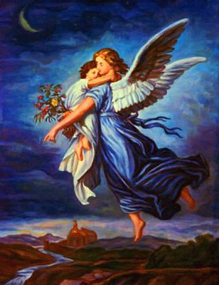 Moon Painting - Heiliger Schutzengel  Guardian Angel 7 Oil by MotionAge Designs