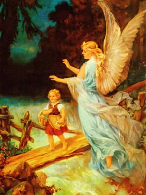 Guardian Angel Oil Painting - Heiliger Schutzengel  Guardian Angel 9 Oil by MotionAge Designs