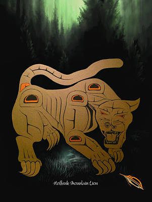 First Tribes Painting - Heiltsuk Mountain Lion The Silent Warrior by Fred Anderson jr