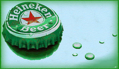 Beer Oil Painting - Heineken Cap Blue by Tony Rubino
