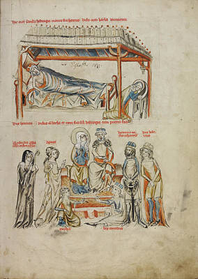 Wash Drawing - Heinrich Sleeping And Saint Hedwig Praying,  Heinrich by Litz Collection