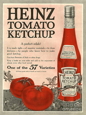 Nineteen-tens Drawing - Heinz 1910s Usa by The Advertising Archives