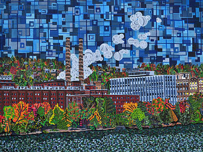 Allegheny River Painting - Heinz Factory - View From 16th Street Bridge by Micah Mullen
