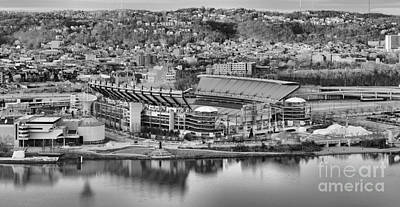 Downtown Pittsburgh Photograph - Heinz Field Black And White Reflections by Adam Jewell