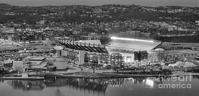 Downtown Pittsburgh Photograph - Heinz Field Evening Black And White Panorama by Adam Jewell