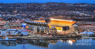 Photograph - Heinz Field Reflections In The Ohio by Adam Jewell