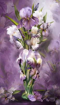 Mixed Media - Heirloom Iris In Iris Vase by Carol Cavalaris