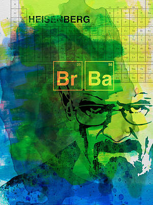 Crime Drama Movie Painting - Heisenberg Watercolor by Naxart Studio