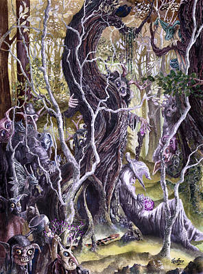 Art Print featuring the painting Heist Of The Wizard's Staff 2 by Curtiss Shaffer