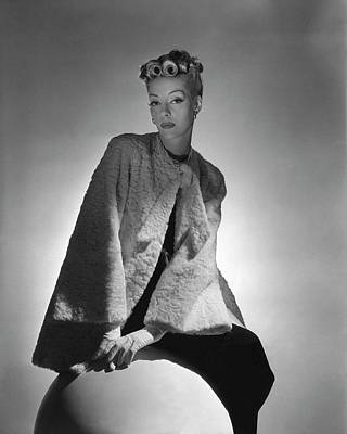 Suede Photograph - Helen Bennett Wearing A Coat And Gloves by Horst P. Horst