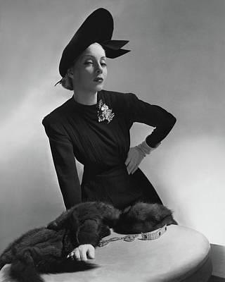Starr Photograph - Helen Bennett Wearing A Dress And Hat by Horst P. Horst