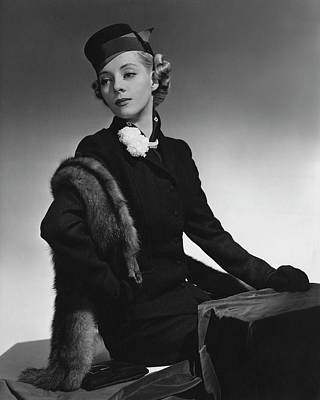 Pill Box Photograph - Helen Bennett Wearing A Hockanum Suit by Horst P. Horst