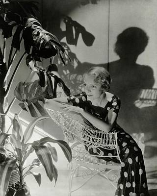 1930s Fashion Photograph - Helen Hayes Sitting By A Potted Plant by Cecil Beaton