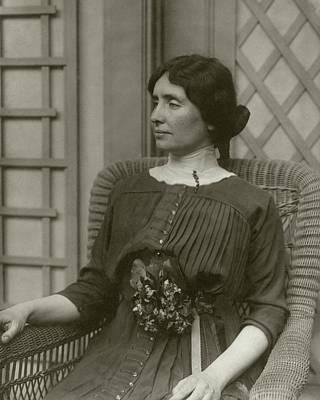 Helen Keller In A Rattan Chair Art Print by George Grantham Bain