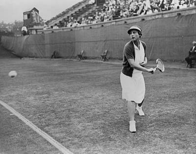Helen Wills Playing Tennis At Forest Art Print by Everett