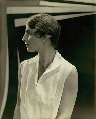Earrings Photograph - Helen Wills Wearing Pearl Earrings by Edward Steichen