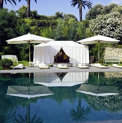 Deck Chair Photograph - Helene Rochas' Poolside Tent by Horst P. Horst