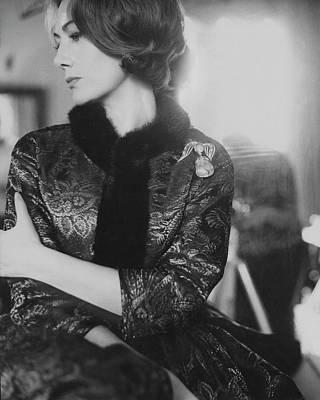 Helene Photograph - Helene Rochas Wearing A Guy Laroche Dress by Karen Radkai