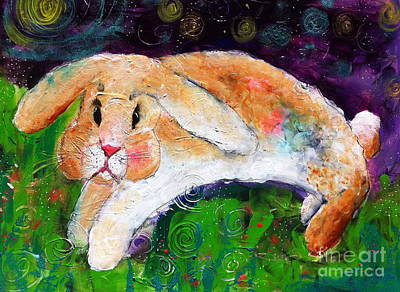 Painting - Helen's Birthday Rabbit In Glastonbury by Kim Heil