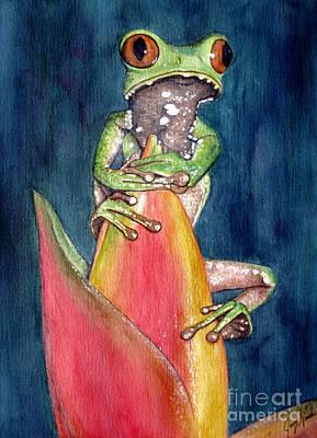 Heliconia A La Tree Frog Art Print