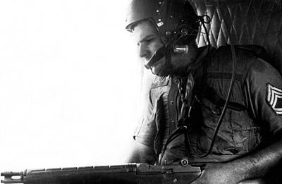 Helicopter Photograph - Helicopter Gunner by Retro Images Archive