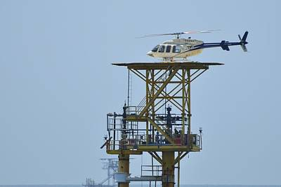 Photograph - Helicopter On Oil Rig by Bradford Martin