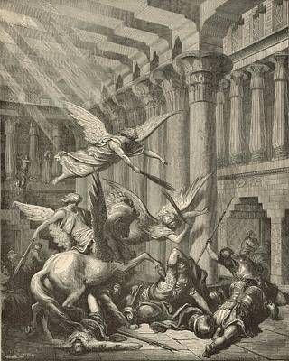 Heliodorus Punished In The Temple Art Print by Antique Engravings