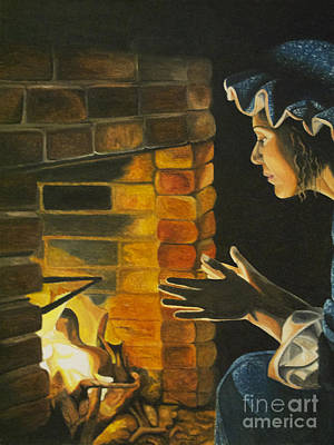 Pioneer Woman Painting - He'll Be Home Soon. by April Ward