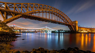 Photograph - Hell Gate And Triboro Bridge By Night by Mihai Andritoiu