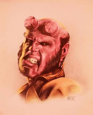 Drawing - Hellboy by Brent Andrew Doty