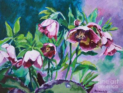 Painting - Hellebore Flowers by Jan Bennicoff