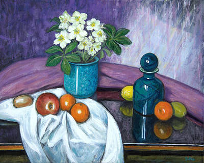 Oranges Painting - Hellebores And Fruit by Sandra Delaney