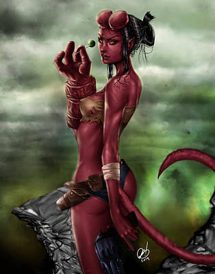 Painting - Hellgirl by Pete Tapang