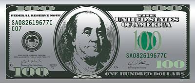 Hello Benjamin - Us One Hundred Dollar Bill On Silver Original