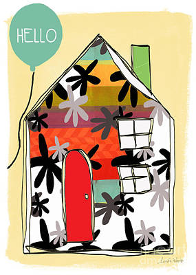 Stripes Mixed Media - Hello Card by Linda Woods
