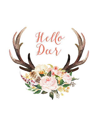 Spring Flowers Painting - Hello Deer Floral by Tara Moss