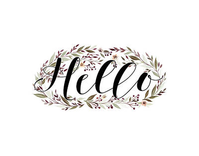 Wreath Painting - Hello Floral Wreath by Tara Moss