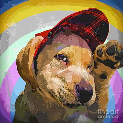 Gold Labrador Painting - Hello by GabeZ Art