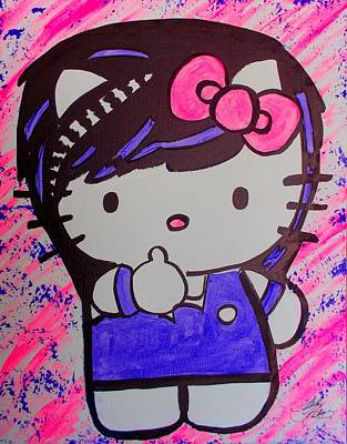 Painting - Hello Kitty Scene by Marisela Mungia