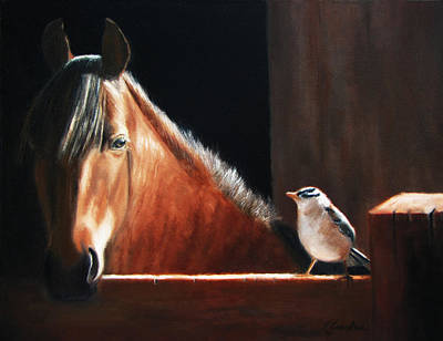 Horse Fence Painting - Hello by Linda Jacobus