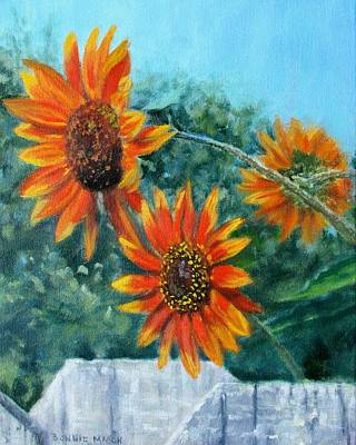 Peaceful Scene Painting - Hello Neighbor-sunflowers Over The Fence by Bonnie Mason