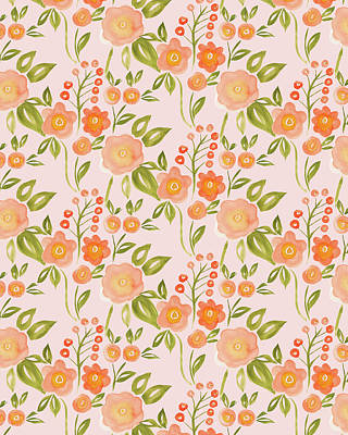 Painting - Hello Spring Collection Floral Repeat Two Peach by Laura Thompson