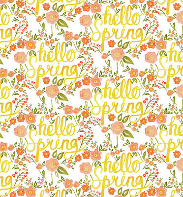 Painting - Hello Spring Repeat Five Handwritten by Laura Thompson