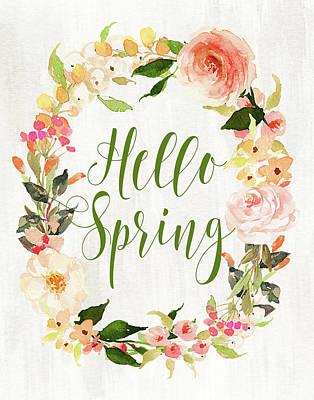 Family Love Painting - Hello Spring Wreath II by Tara Moss