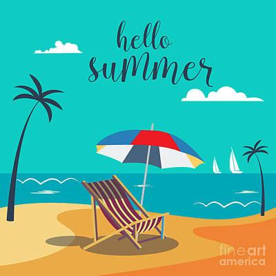 Hot Wall Art - Digital Art - Hello Summer Poster. Tropical Beach by Ivector