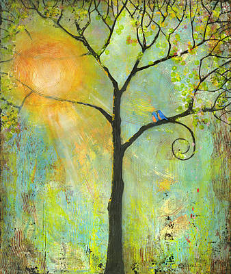 Greens Painting - Hello Sunshine Tree Birds Sun Art Print by Blenda Studio