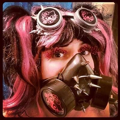 #hellokitty #gasmask #goggles #mask Art Print