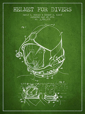 Diving Helmet Drawing - Helmet For Divers Patent From 1976 - Green by Aged Pixel