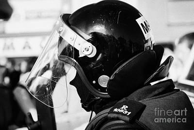 Helmet Of Psni Riot Officer Head And Shoulders On Crumlin Road At Ardoyne Shops Belfast 12th July Art Print by Joe Fox