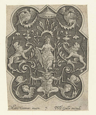 Helmeted Woman With Shield And Spear, Philips Galle Art Print by Philips Galle And Marcus Geeraerts